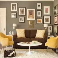 яркий стиль комнаты в горчичном цвете фото