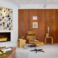 светлый интерьер спальни со стеновыми панелями картинка