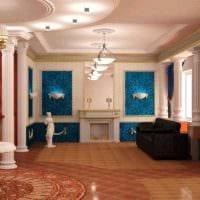 оригинальный дизайн гостиной в стиле ампир картинка