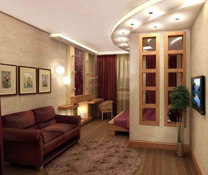 красивый интерьер спальни и гостиной в одной комнате