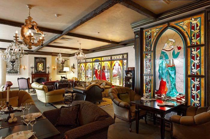 современный интерьер спальни в готическом стиле
