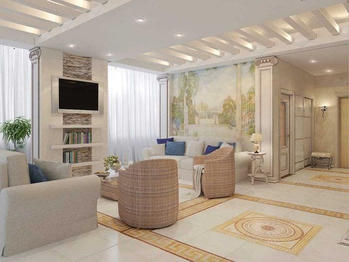 красивый дизайн комнаты в греческом стиле