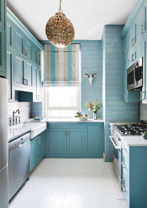 яркий стиль комнаты в голубом цвете