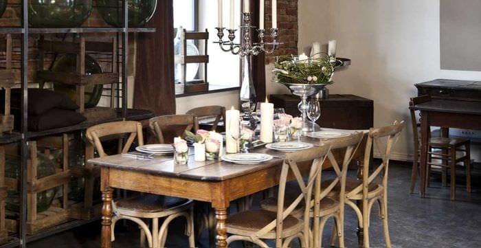 классический декор гостиной в стиле рустик