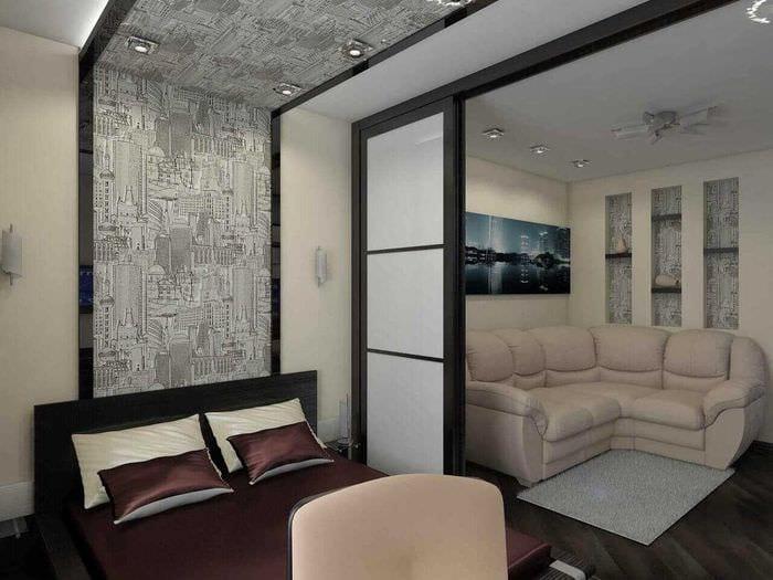 яркий дизайн спальни гостиной