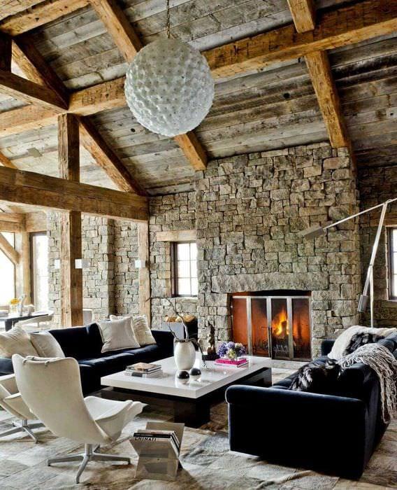 яркий стиль квартиры в стиле рустик