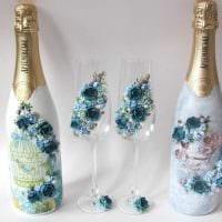 красивое оформление бутылок шампанского разноцветными ленточками фото