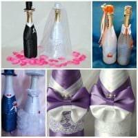 шикарное оформление бутылок шампанского декоративными ленточками картинка