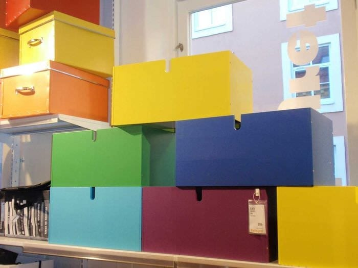 яркое декорирование коробок для хранения подручными материалами