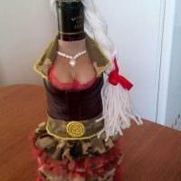 красивое украшение бутылок декоративными ленточками фото
