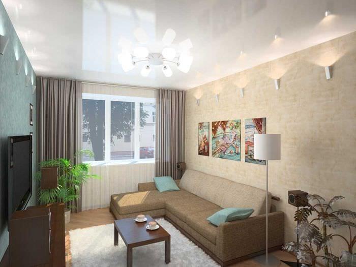 идея яркого оформления гостиной комнаты 17 кв.метров
