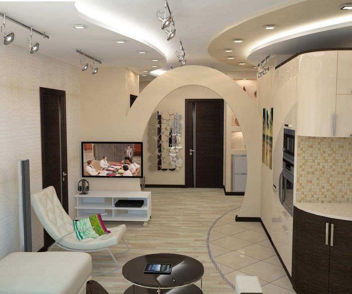 вариант современного интерьера кухни с аркой