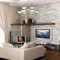 вариант яркого оформления стен в гостиной картинка