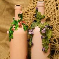 идея стильного декорирования бутылок красками картинка