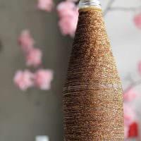 вариант красивого декорирования стеклянных бутылок бисером картинка