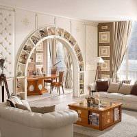 идея оригинального интерьера спальни с аркой картинка