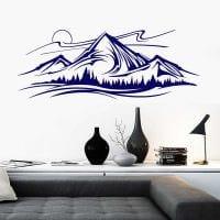 идея оригинального декора комнаты с декоративным рисунком на стене картинка
