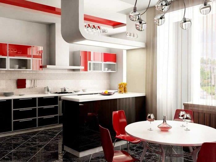 вариант яркого стиля большой кухни