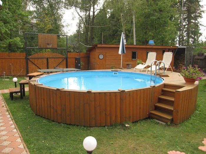 вариант красивого стиля небольшого бассейна