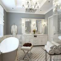 вариант оригинального интерьера белой ванной картинка