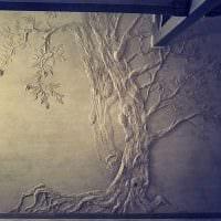 вариант современного дизайна квартиры с декоративным рисунком на стене картинка
