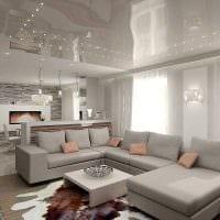 вариант оригинального интерьера гостиной комнаты 17 кв.метров фото