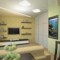 идея яркого стиля гостиной комнаты 17 кв.метров фото