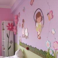 вариант яркого дизайна спальни для девочки фото