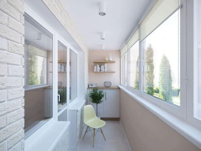 идея красивого дизайна небольшого балкона