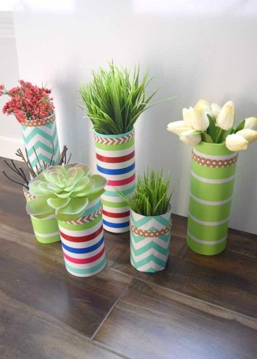 идея оригинального декорирования настольной вазы