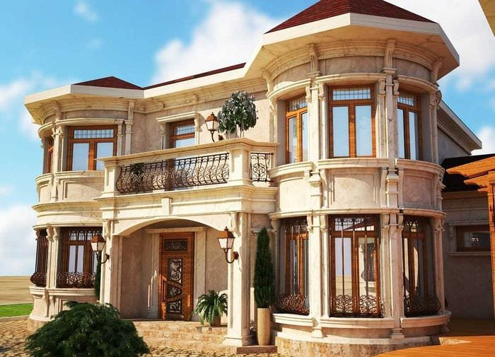 вариант красивого декорирования загородного дома