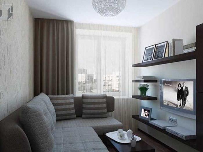 идея необычного дизайна гостиной комнаты 17 кв.метров
