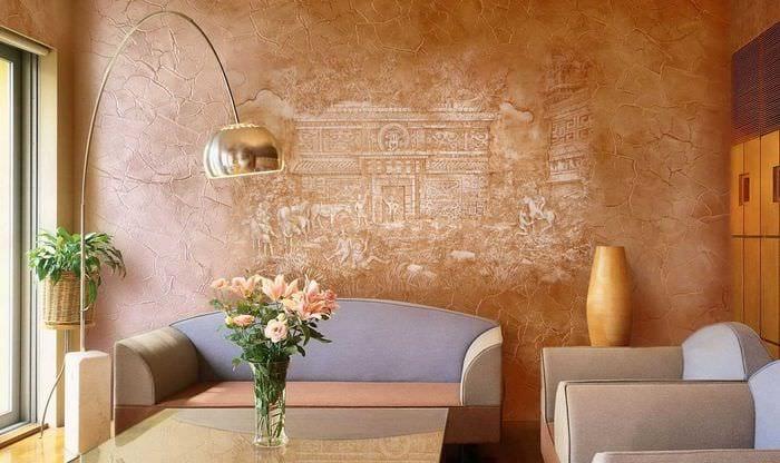вариант оригинального интерьера квартиры с декоративной штукатуркой