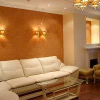 идея яркого дизайна комнаты с декоративной штукатуркой фото