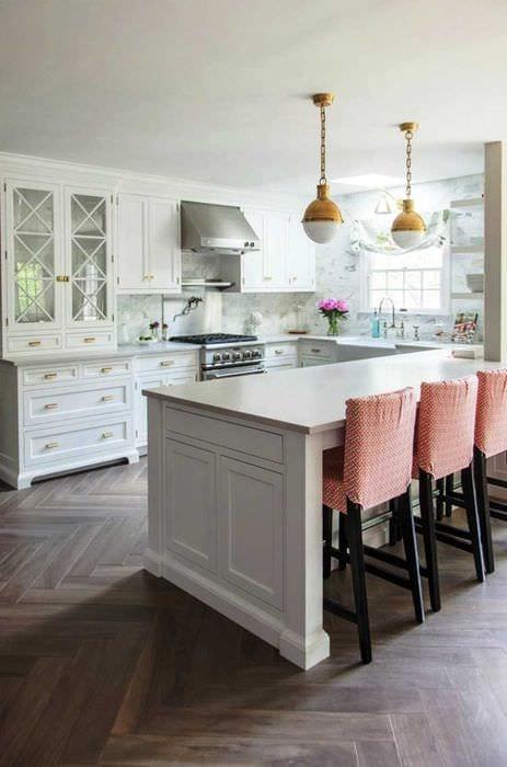 идея красивого стиля большой кухни