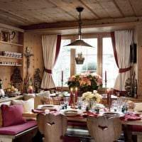 вариант оригинального дизайна гостиной в деревенском стиле картинка