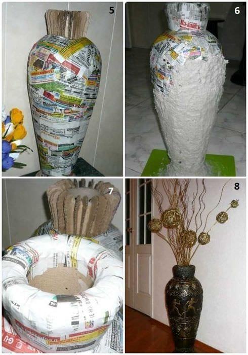 вариант яркого оформления напольной вазы