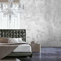 вариант красивой декоративной штукатурки в дизайне квартиры под бетон картинка