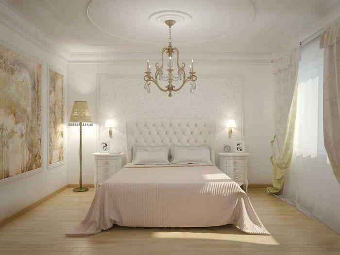 идея оригинального декорирования интерьера спальной комнаты