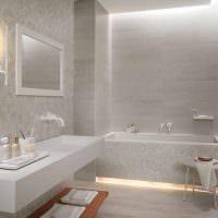 идея оригинального стиля белой ванной комнаты картинка