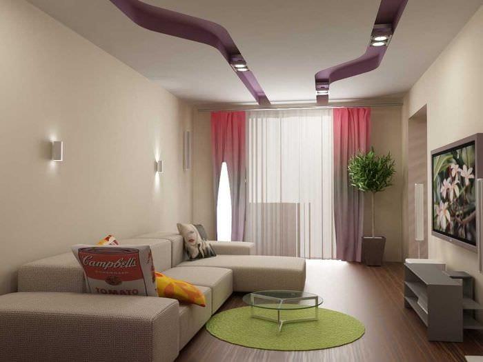 идея оригинального стиля гостиной комнаты 17 кв.метров