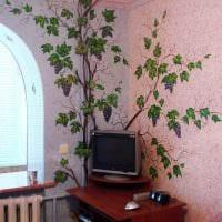 идея красивого интерьера квартиры с декоративным рисунком на стене картинка