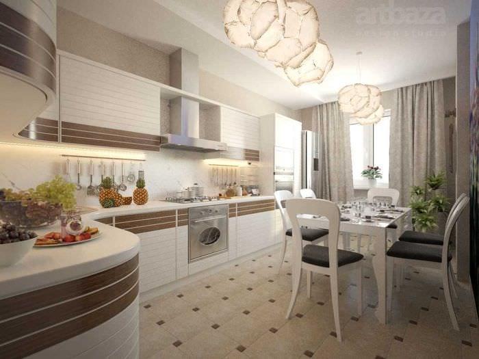 идея оригинального интерьера большой кухни