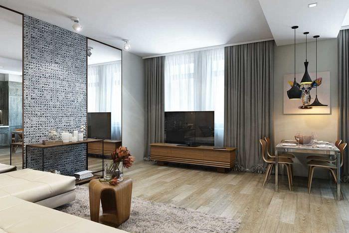 идея необычного дизайна спальни 3-х комнатной квартиры