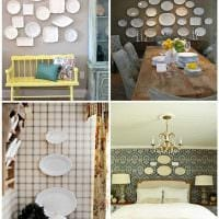 вариант красивого оформления спальни с декоративными тарелками на стену фото