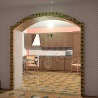 идея современного интерьера кухни с аркой картинка