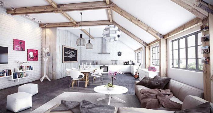 вариант оригинального дизайна спальни с декоративными балками
