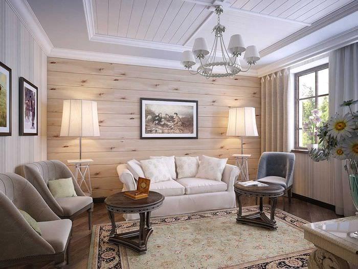 идея необычного оформления стен в гостиной