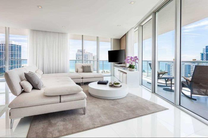 вариант необычного интерьера гостиной комнаты 17 кв.метров