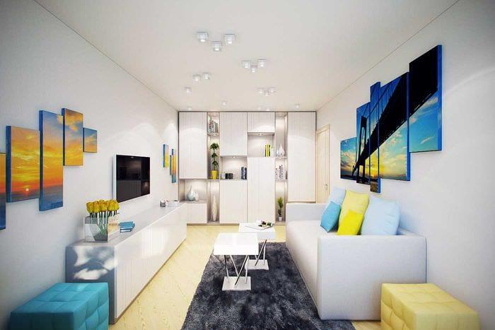 вариант оригинального интерьера 2 комнатной квартиры